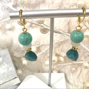 Frontrow.style Jewelry - Sterling Silver Earrings GF Lever back  Amazonite
